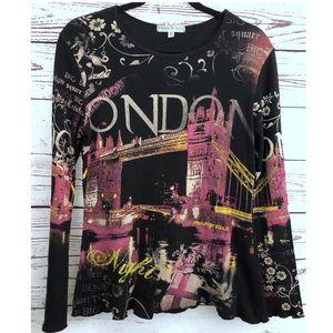 Vintage Suzie Black London Embellished T-Shirt